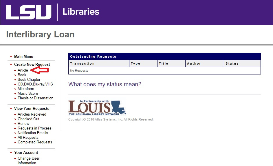 Interlibrary Loan account page highlighting the article tab